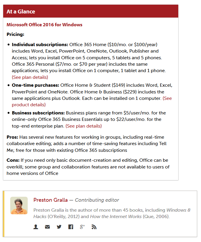 Microsoft Office 2016 Prices from Preston Gralla at Computer World