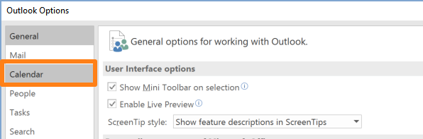 outlook options calendar